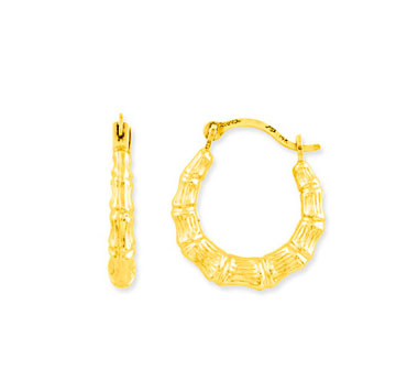 14k Yellow Gold Mini Bamboo Hoop Earrings