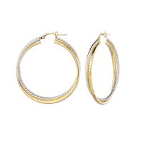 14k Two Tone 1 1/2 Inch Twisted Hoop Earrings