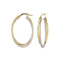 14k Two Tone 1 1/2 Inch Twisted Oval Hoop Earrings
