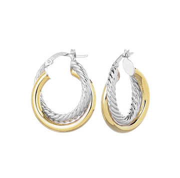 14k Two Tone 1 inch Twisted Hoop Earrings