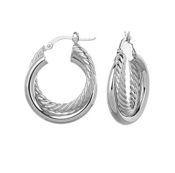 14k White Gold 1 inch Twisted Hoop Earrings