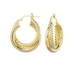 14k Yellow Gold 1 inch Twisted Hoop Earrings