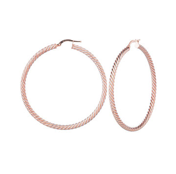14k Two Tone 2 inch Twisted Hoop Earrings
