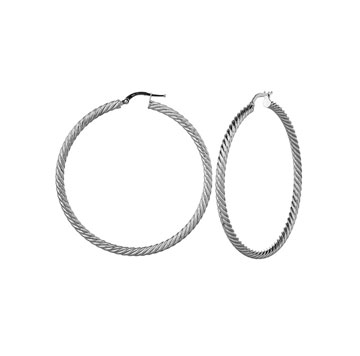 14k White Gold 2 inch Twisted Hoop Earrings
