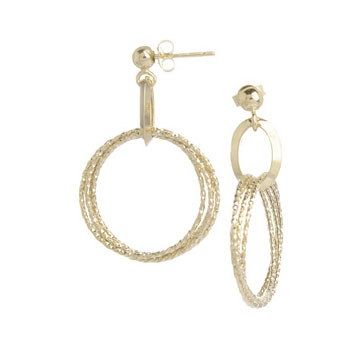14k Yellow Gold  Multi Hoop Drop Earrings