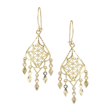 14k Yellow Gold 2 Inch Filigree Style Chandelier Earrings