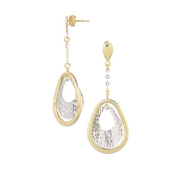 14k Two Tone Gold 2 Inch Tear Shape Drop Earrings