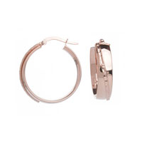 14k Rose Gold 1 Inch Fancy Oval Hoop Earrings