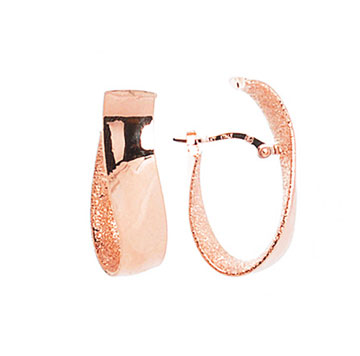 14k Rose Gold 1 Inch Wave Inside Outside Hoop Earrings