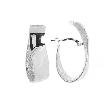 14k White Gold 1 Inch Wave Inside Outside Hoop Earrings