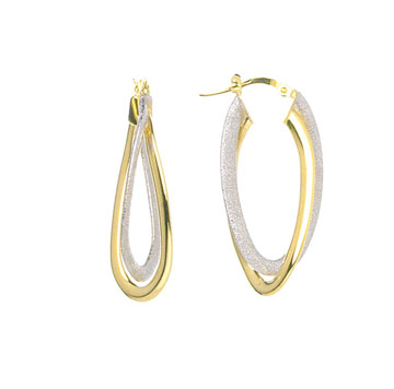 14k Two Tone 1 1/2 Inch Oval Hoop Earrings