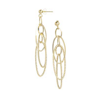 14k Yellow Gold 2 1/2 Inch Multi Ring Drop Earrings
