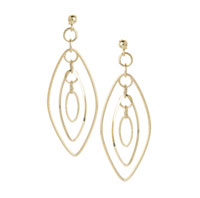 14k Yellow Gold 2 3/4 Inch Fashion Drop Earrings