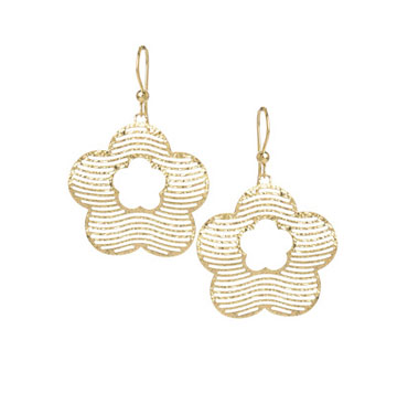 14k Yellow Gold 2 Inch Flower Drop Earrings