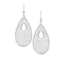 14k White Gold 2 Inch Tear Shape Drop Earrings