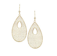 14k Yellow Gold 2 Inch Tear Shape Drop Earrings