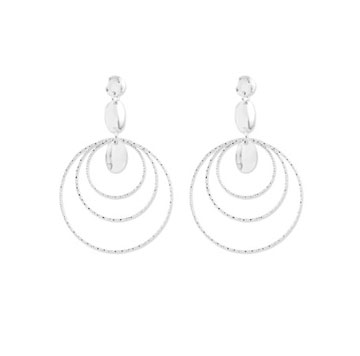 Sterling Silver Diamond Cut Triple Hoop Drop Earrings