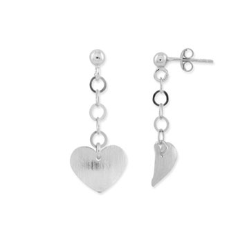 Sterling Silver Textured Heart Drop Earrings