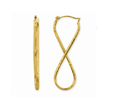 10k Yellow Gold Figure 8 Hoop Earrings