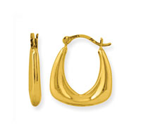 14k Yellow Gold Petite Square Hoop Earrings