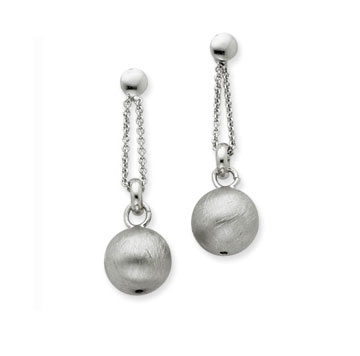 Sterling Silver Textured Ball Drop Earrings