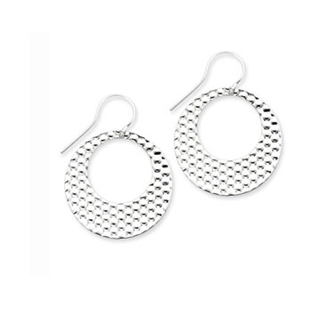 Sterling Silver Textured Flat Circle Drop Earrings
