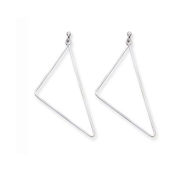 Sterling Silver Fancy Triangle Drop Earrings