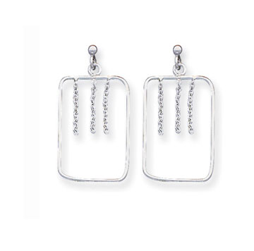 Sterling Silver Rectangle Drop Earrings