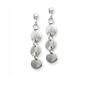 Sterling Silver Circle Disk Drop Earrings