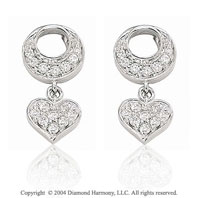14k White Gold Pave Heart 1/4 Carat Diamond Earring Charms