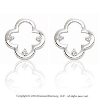 14k White Gold Clover Prong Diamond Earring Charms
