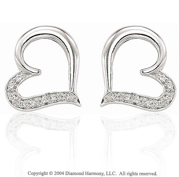 14k White Gold Heart Pave .10  Carat Diamond Earring Charms