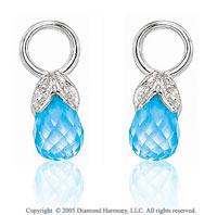 14k White Gold Pear Blue Topaz & Diamond Earring Charms