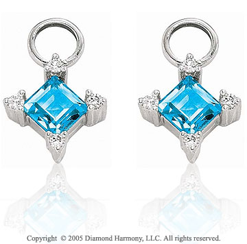 14k White Gold Princess Blue Topaz & Diamond Earring Charms