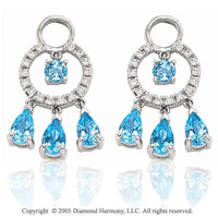 14k White Gold Blue Topaz 1/5  Carat Diamond Earring Charms