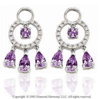 14k White Gold Amethyst 1/5  Carat Diamond Earring Charms