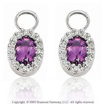 14k White Gold Oval Amethyst & Diamond Earring Charms