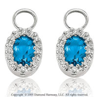 14k White Gold Oval Blue Topaz & Diamond Earring Charms