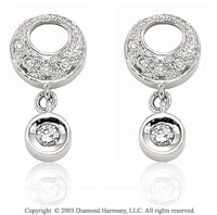 14k White Gold Pave & Bezel Drop Diamond Earring Charms