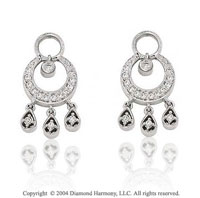 14k White Gold Circle Drop 1/5 Carat Diamond Earring Charms