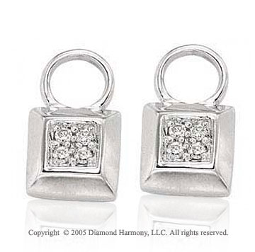 14k White Gold Glamour Square .10 Carat Diamond Earring Charms