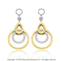 14k Two Tone  Gold Diamond Double Circle Earring Charms