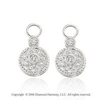 14k White Gold Round Bezel 1/3 Carat Diamond Earring Charms