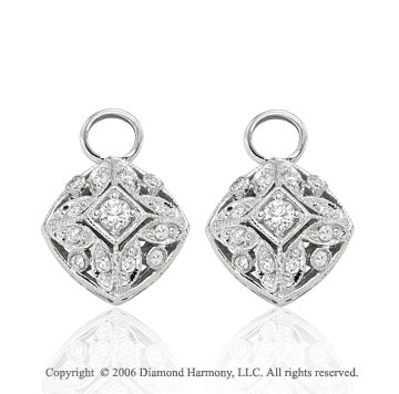 14k White Gold Filigree .30 Carat Diamond Earring Charms