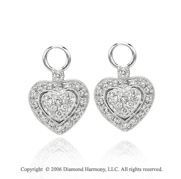 14k White Gold Milgrain Heart 1/3  Carat Diamond Earring Charms