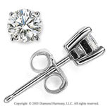 14k White Gold Prong Round .35 Carat Diamond Stud Earrings