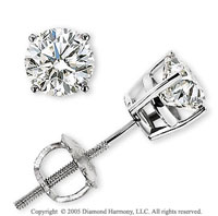 14k White Gold Prong Round .50 Carat Diamond Stud Earrings