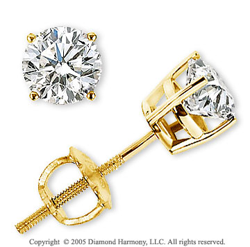 14k Yellow Goldold Prong Round .50 Carat Diamond Stud Earrings