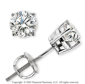 14k White Gold Prong Round 1.00 Carat Diamond Stud Earrings