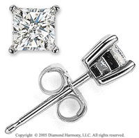 14k White Gold Prong Princess .20 Carat Diamond Stud Earrings